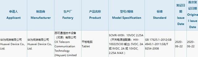 华为新款平板通过3C认证入网 支持22.5W快充