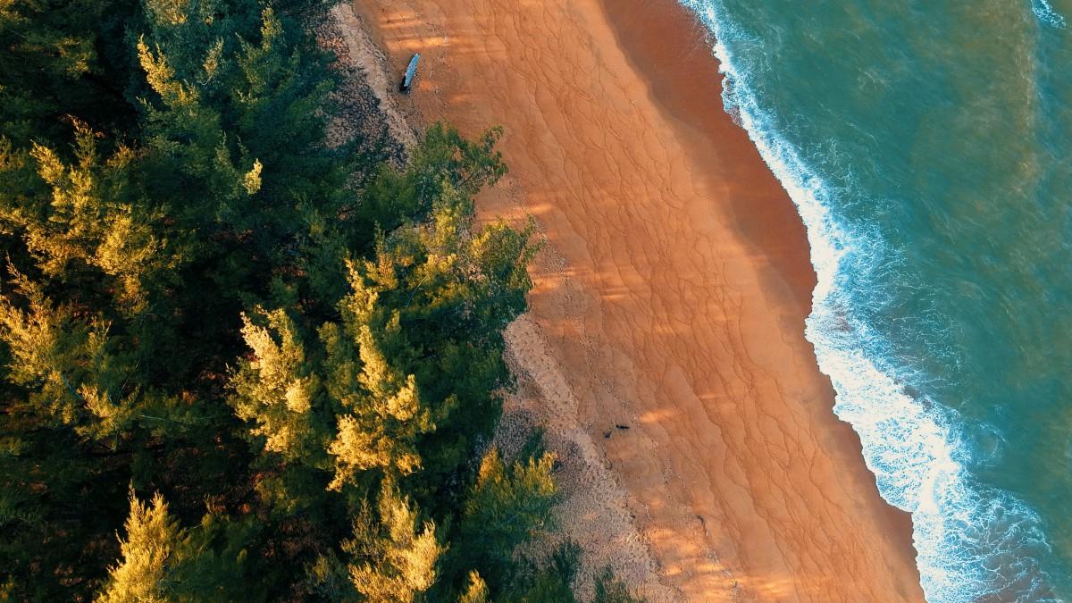 壮观航拍海滩图片